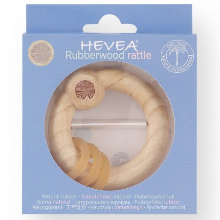Hevea Rubberwood Rattle - Natural