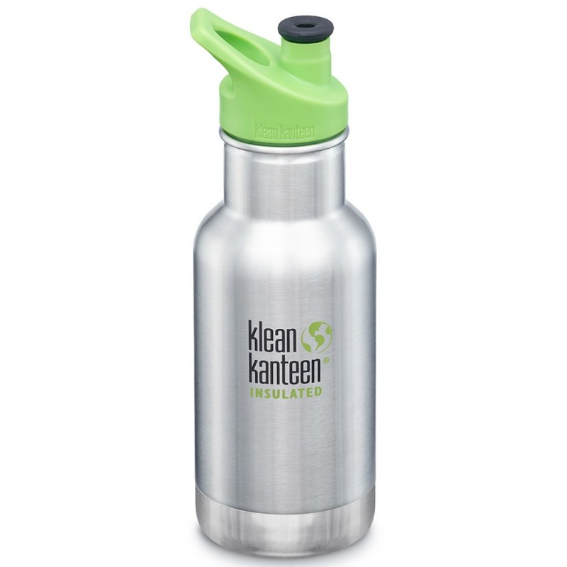 Klean Kanteen Insulated Stainless Steel Water Bottle Sports Cap 12oz 355ml - Brushed Stainless