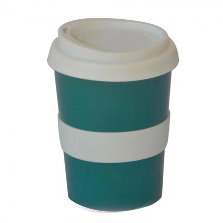 Ceramic Coffee Cup w Silicone Band - Peacock