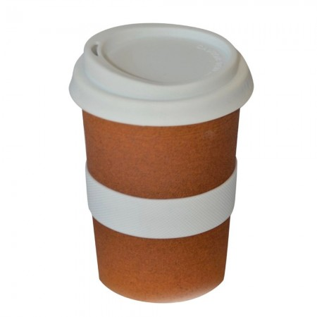 Ceramic Coffee Cup w Silicone Band - Terracotta