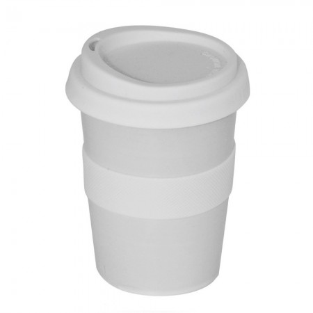 Ceramic Coffee Cup w Silicone Band - White