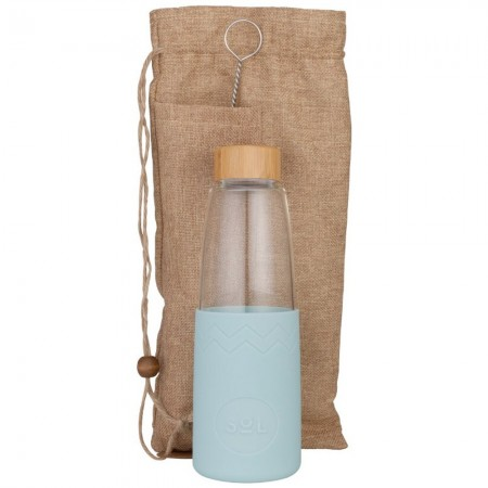 Sol Glass Water Bottle 850ml - Cool Cyan