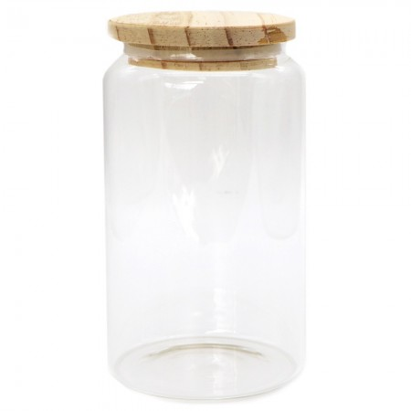 Glass Storage Jar with Wooden Lid 750ml