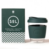 SOL Medium Glass Coffee Cup 355ml 12oz - Deep Sea Green
