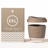 SOL Medium Glass Coffee Cup 355ml 12oz - Seaside Slate