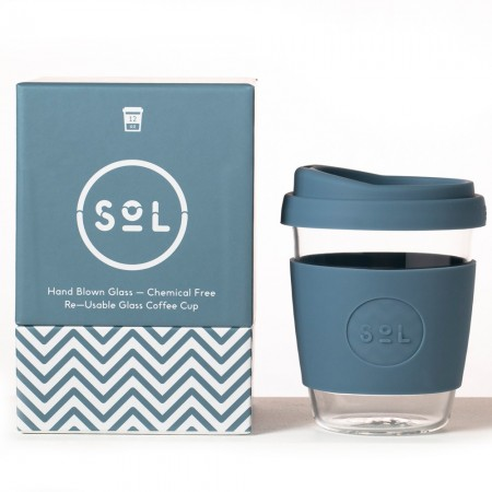 SOL Medium Glass Coffee Cup 355ml 12oz - Blue Stone