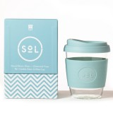SOL Medium Glass Coffee Cup 355ml 12oz - Cool Cyan