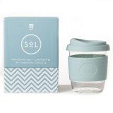 SOL Small Glass Coffee Cup 235ml 8oz - Cool Cyan