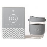 SOL Small Glass Coffee Cup 235ml 8oz - Cool Grey