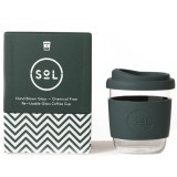 SOL Small Glass Coffee Cup 235ml 8oz - Deep Sea Green