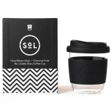 SOL Small Glass Coffee Cup 235ml 8oz - Basalt Black
