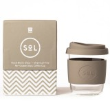 SOL Small Glass Coffee Cup 235ml 8oz - Seaside Slate
