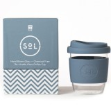 SOL Small Glass Coffee Cup 235ml 8oz - Blue Stone