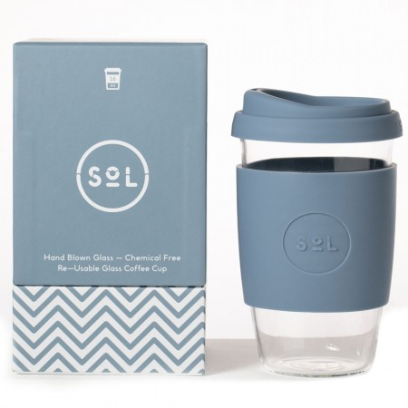 SOL Large Glass Coffee Cup 475ml 16oz - Blue Stone