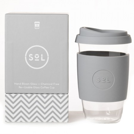 SOL Large Glass Coffee Cup 475ml 16oz - Cool Grey