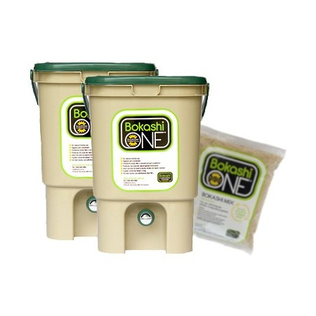 Bokashi Compost Bin Two Bin Set - 2 x Tan & Green