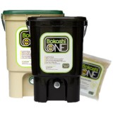 Bokashi Compost Bin Two Bin Set - 1 x Tan/Green 1x Black