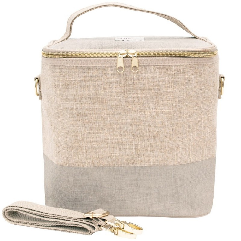 SoYoung Large Raw Linen Insulated Cooler Bag - Cement