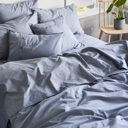Sheets On The Line Organic Percale Cotton Quilt Cover Set - Harbour