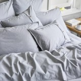Sheets On The Line Organic Percale Cotton Quilt Cover Set - Fog