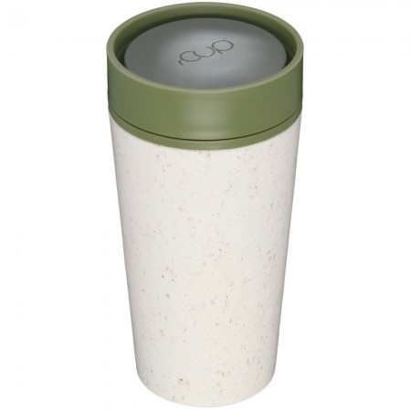 rCUP Medium Reusable Coffee Cup 12oz/340ml - White/Earth Green