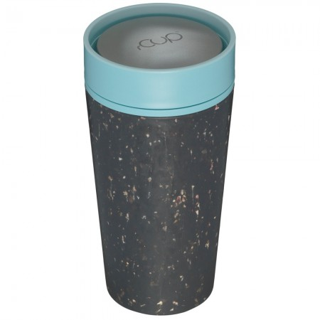 rCUP Medium Reusable Coffee Cup 12oz/340ml - Black/Teal Blue