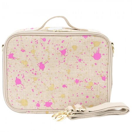 SoYoung Raw Linen Insulated Lunch Box - Fuchsia & Gold Splatter