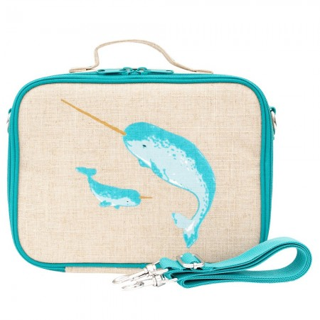 SoYoung Raw Linen Insulated Lunch Box - Teal Narwhal