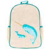 SoYoung Raw Linen Toddler Backpack - Teal Narwhal