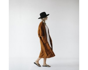 Seaside Tones Linen Coat Mustard