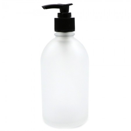 Frosted Glass Pharmacy Bottle with Pump 250ml