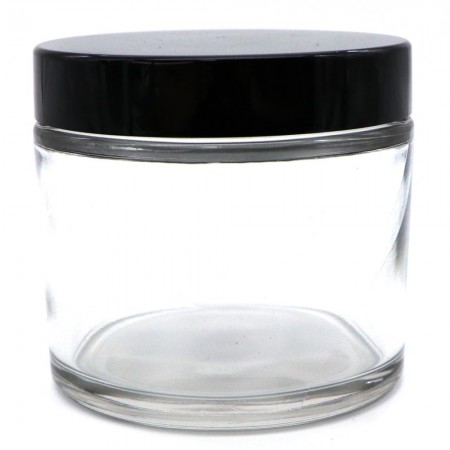Clear Glass Jar with Black Lid 250ml
