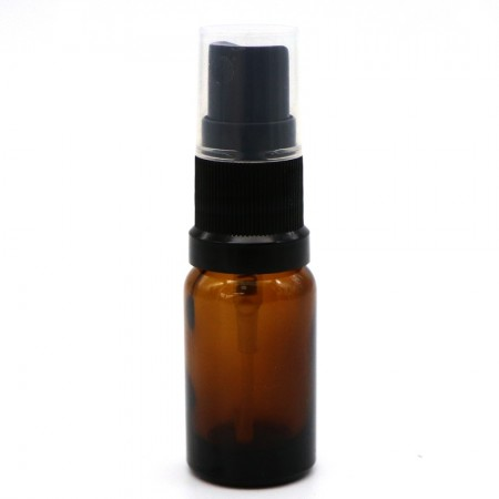 Amber Glass Pharmacy Bottle with Black Atomiser 10ml