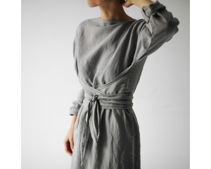 Seaside Tones Long Sleeve Belted Dress Light Grey