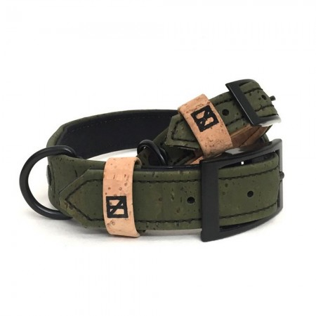Herzog Medium Hemp & Cork Dog Collar - Olive