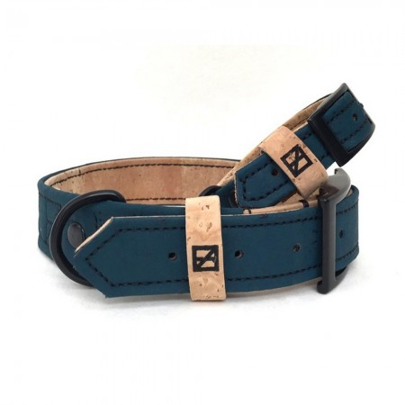 Herzog Small Hemp & Cork Dog Collar - Navy