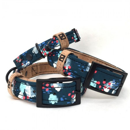 Herzog Medium Hemp & Cork Dog Collar - Painted Navy