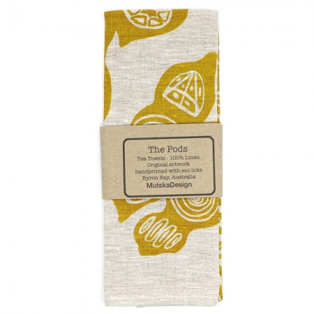 Mutska Linen Tea Towel - The Pods Yellow