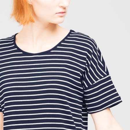 Dorsu Box T Shirt - Navy Stripe