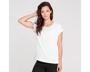 Dorsu Rolled Sleeve Crew - White