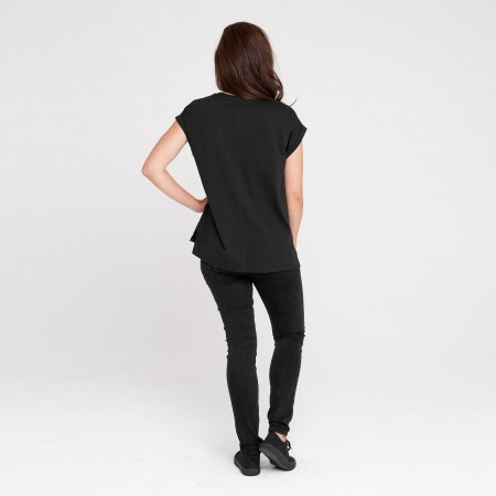 Dorsu Rolled Sleeve Crew - Black