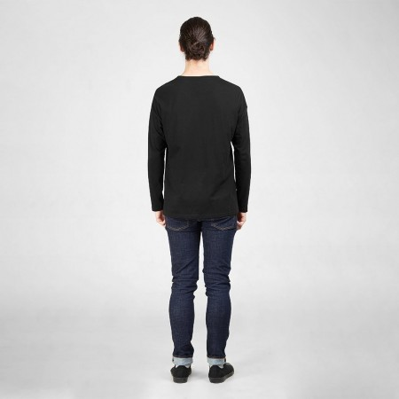 Dorsu Mens Long Sleeve Pocket T Shirt - Black
