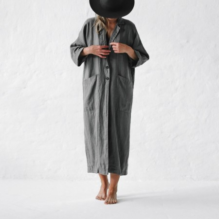 Seaside Tones Linen Coat Grey