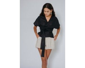 Common Stitch Bellbird Wrap Top - Black