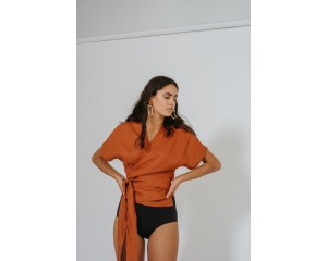 Common Stitch Bellbird Wrap Top - Paprika