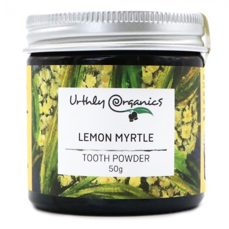 Urthly Organics Toothpaste Powder - Lemon Myrtle, Charcoal & Turmeric 50g