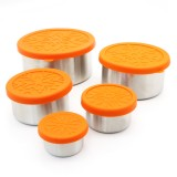 Biome Stainless Steel Nesting Containers Orange Lids - Set of 5