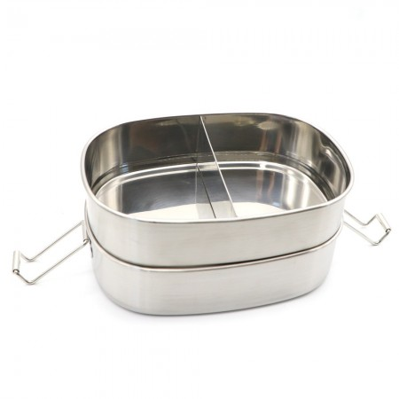 Good To Go Stainless Steel Two Level Lunchbox with Clips 1L