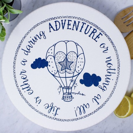 Waxed XL Food Cover - Hot Air Balloon/Navy