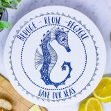 Waxed Medium Food Cover - Seahorse/Navy
